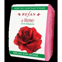 Burete exfoliant cu sapun Refan A Rose of Bulgaria