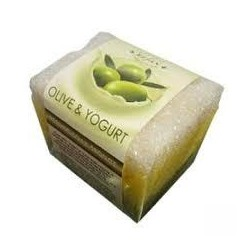 Burete exfoliant cu sapun OLIVE & YOGURT Refan